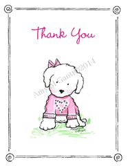 Sweet Puppy Thank You Greeting Card