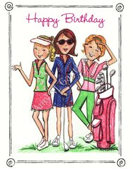 Girls on the Green Birthday Greeting Card