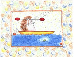 Hedgehog Kayaking Boxed Note Cards