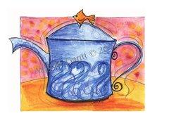 Cope - Aqua Teapot Greeting Card