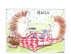Hedgehogs Picknicing Boxed Note Cards