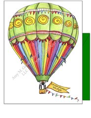 Green Hot Air Balloon Boxed Note Cards