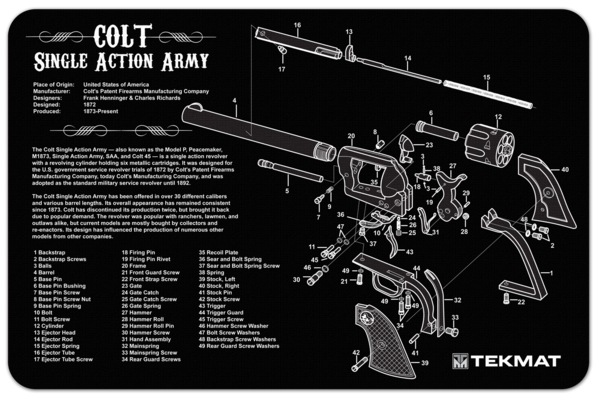 Colt Single Action Army 45 Revolver Cutaway Diagram