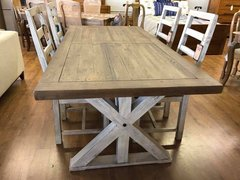 Bavaria 200cm Trestle Dining Table in Two Tone