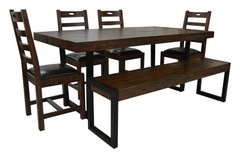 Flea Market Dining Set with 4 chairs & large bench in coffee bean