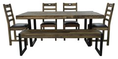 Flea Market Dining Set with 4 chairs & large bench in natural rustic