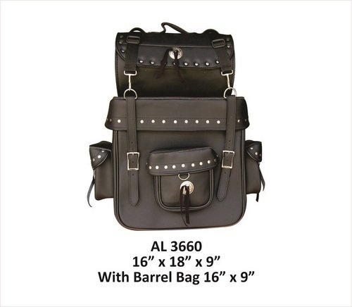 Luggage Bag Studded with Conchos with Barrel Bag