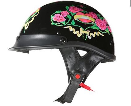 D.O.T. Approved Black Rose Helmet