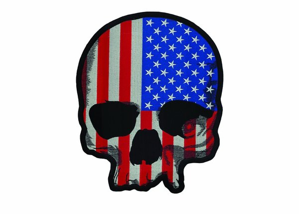 USA Flag Skull LG Embroidered Patch