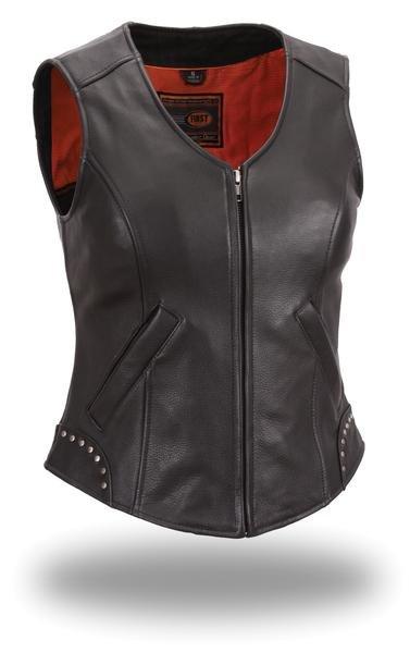 "Ladies ""Taylor"" Studded Leather Vest"