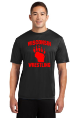 Cotton WI Wrestling Black/Red Tee
