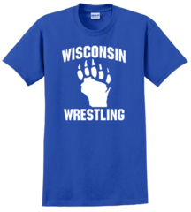 Gildan Ultra Cotton 100% Cotton T-Shirt- Wisconsin Wrestling Blue