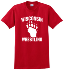 Gildan Ultra Cotton 100% Cotton T-Shirt-Wisconsin Wrestling Red