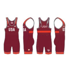 NIKE MEN'S USAWR GRAPPLER ELITE TOUR WRESTLING SINGLET - RED
