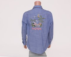 Light Weight Casual Long Sleeve Shirt (Blue) With White Jeep