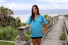 Ladies Oceanic Blue V-Neck Polo