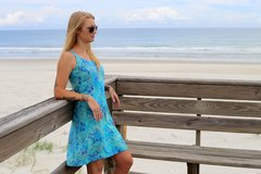 Surf Short Strap Dress - Green and Blue