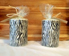 Zebra Soy Pillar Candles Unscented