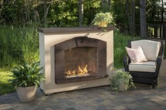 Outdoor GreatRoom Stone Arch Outdoor Gas Fireplace