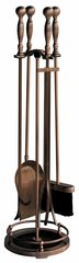 Uniflame 5 pc Satin Copper Fireset w/ Ball Handles