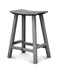 "Polywood 24"" Traditional Saddle Bar Stool SLATE GREY"