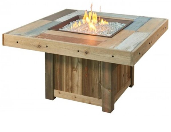 Vintage Fire Pit Table Faux Wood Outdoor Greatroom