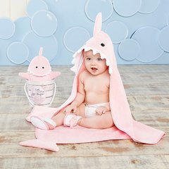 """Let the Fin Begin"" 4-Piece Pink Shark Bath Set"