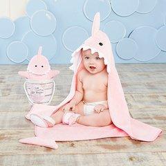"""""""Let the Fin Begin"""" 4-Piece Pink Shark Bath Set"""