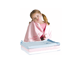 Personalized 36 x 50 Inch Satin Trim Microfleece Baby Blanket in 3 Colors
