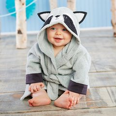 "Infant's Personalized ""Little Rascal"" Raccoon Hooded Spa Robe"