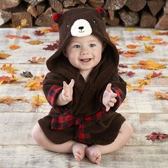 Infant's Personalized Red Flannel Bear Robe