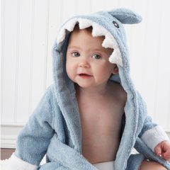 Personalized Shark Hooded Spa Robe - Blue