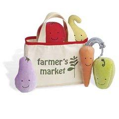 Farmer's Market Tote with 5 Noise-maker Vegetables