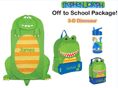 "Personalized ""Off to School"" 4-Piece 3D Dinonsaur Package by Stephen Joseph"