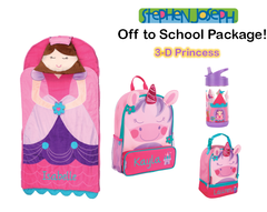 "Personalized ""Off to School"" 4-Piece 3D Princess Package by Stephen Joseph"