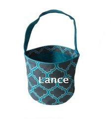 Personalized Gray & Aqua Charfoil Easter Bucket