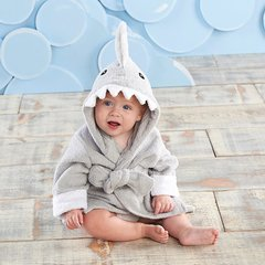 """Personalized """"Let the Fin Begin"""" Hooded Shark Spa Robe - Gray"""