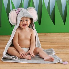 "Personalized ""Splish Splash Elephant Bath"" Hooded Towel"
