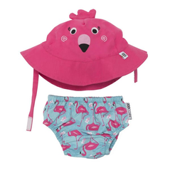 Personalized UPF 50+ Flamingo Swim Diaper & Sunhat Sets