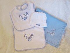 Air Force Baby Blanket, Bib, Burp Cloth, Hat Set