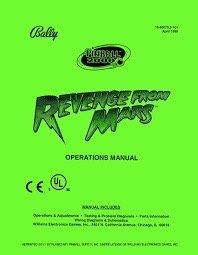 REVENGE FROM MARS PINBALL MANUAL (REPRINT)