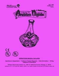 TALES OF ARABIAN NIGHTS PINBALL MANUAL (REPRINT)