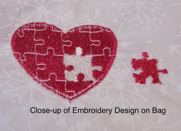 Valentine bear puzzle with white embroidered gift bag