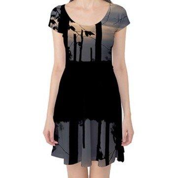 Reflection of a Treeline Capsleeve Dress