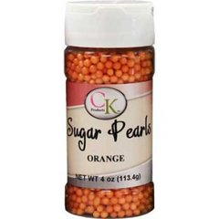 4mm Orange Matte Edible Sugar Pearls 4 oz.