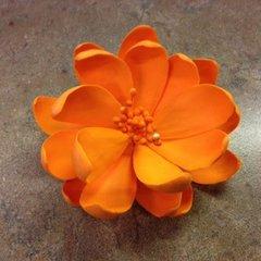 Lotus Edible Gumpaste Flower Orange 3.5 inch