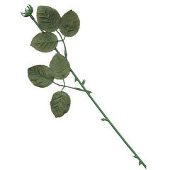 Silk Rose Stem with Leaves for Candy Roses 12 Piece
