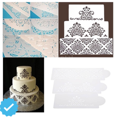 Damask Fondant Cake Stencil Set of 3