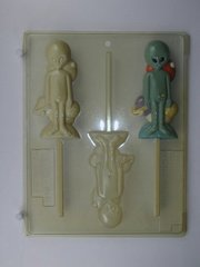 Alien Body with Planets Lollipop 3 Cavity Chocolate Craft Candy Mold
