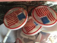 Patriotic American Flag Cupcake Rings 12 Piece